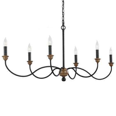 Hartsville 42.5 in. W. 6-Light Dark Weathered Zinc / Weathered Oak Single Tier Chandelier
