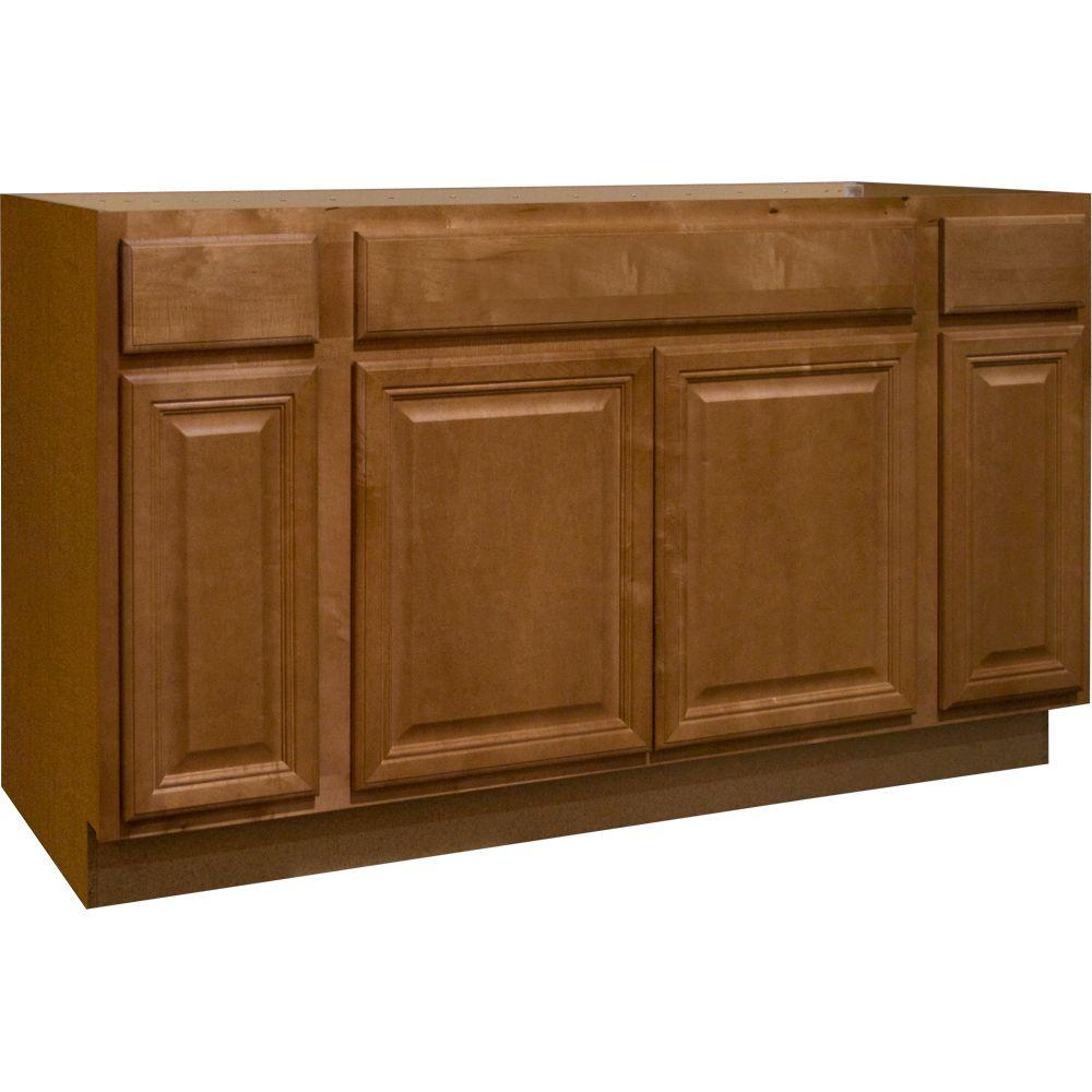 Hampton Bay Cambria Assembled 60x34.5x24 in. Sink Base Kitchen Cabinet in Harvest