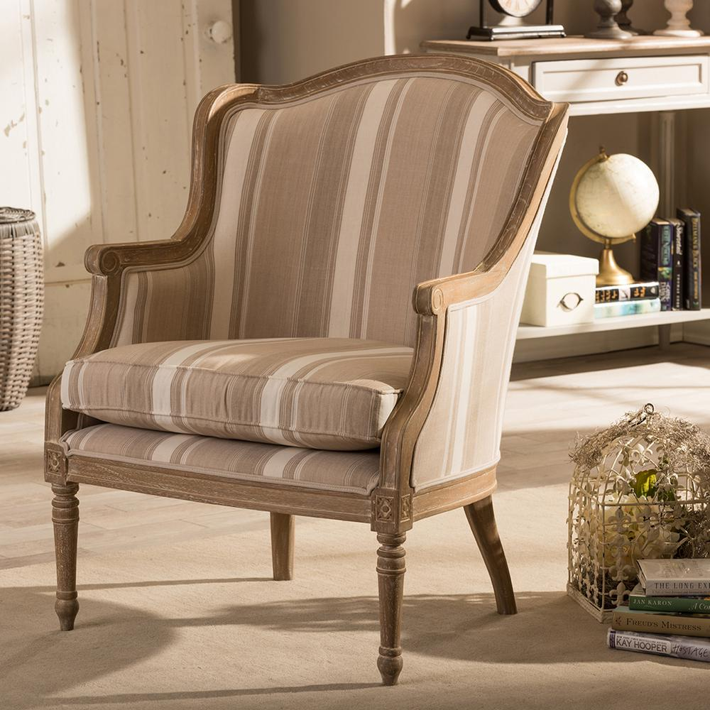 Charlemagne Beige Stripes Fabric Upholstered Accent Chair