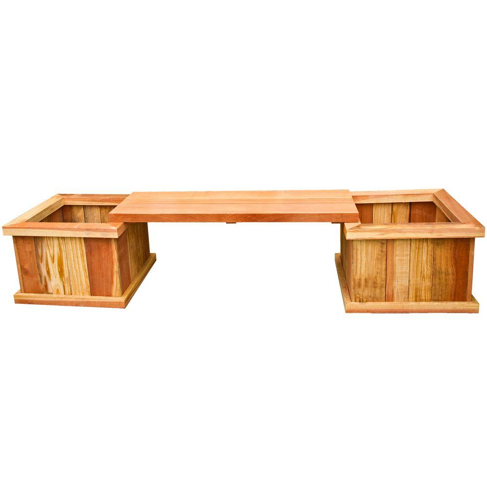 Hollis Wood Products 83 in Redwood Planter Bench Kit12011 The