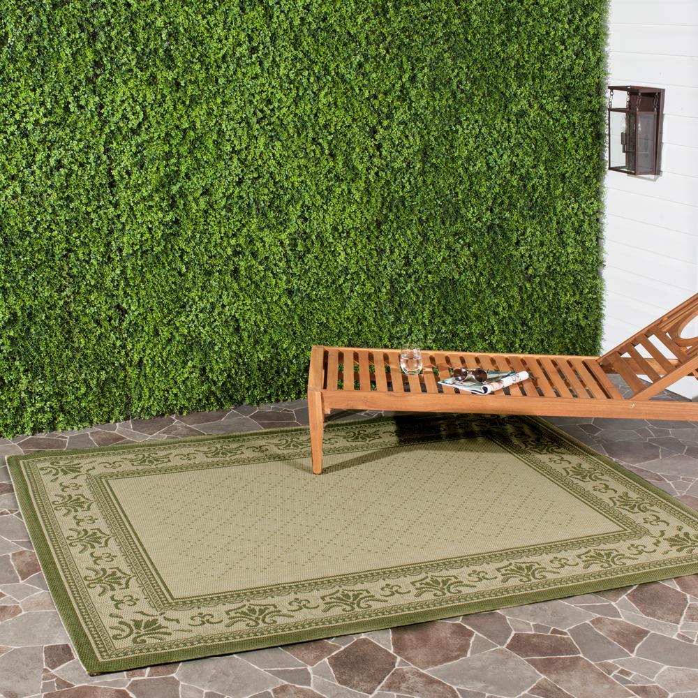 Safavieh Courtyard Natural/Olive 2 ft. 7 in. x 5 ft. Indoor/Outdoor Area Rug
