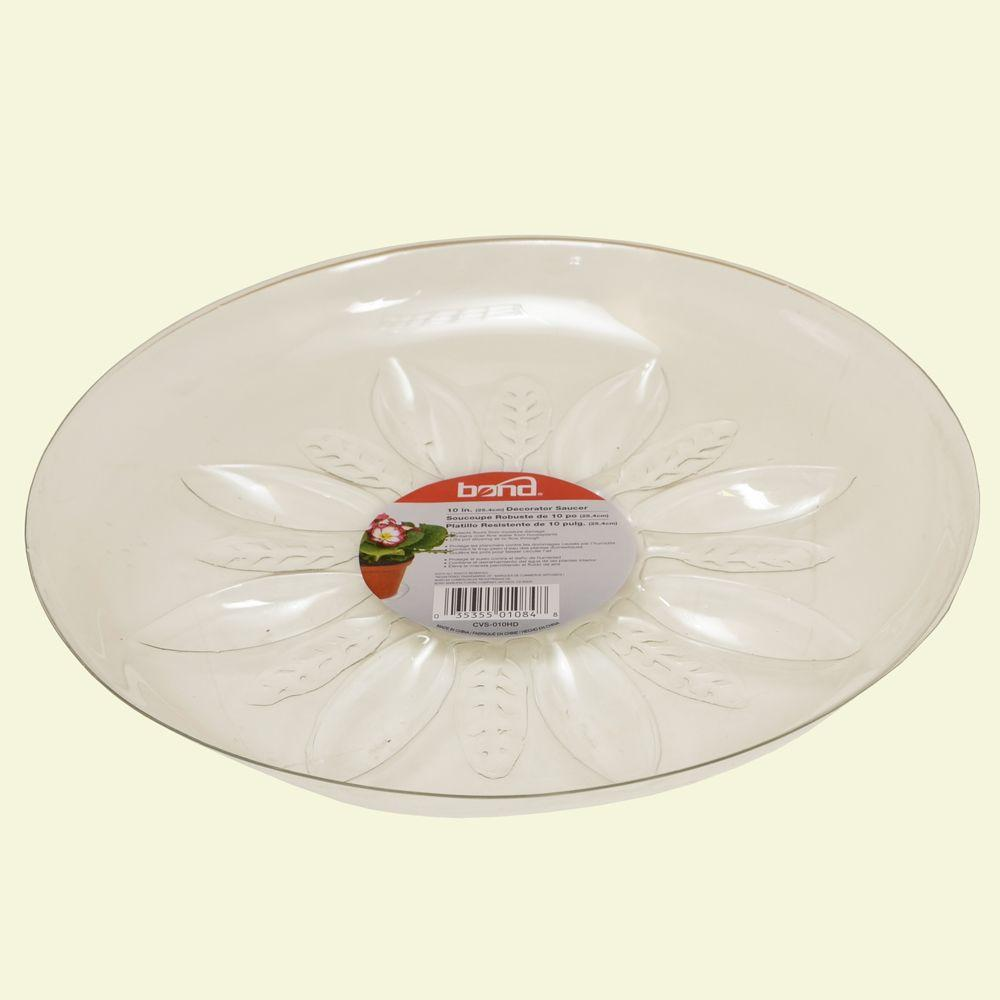 Bond Manufacturing 10 in. Heavy Duty Clear Plastic Saucer