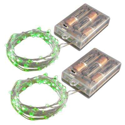 Battery Operated LED Waterproof Mini String Lights with Timer (50ct) Green (Set of 2)