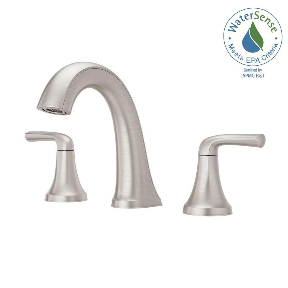 Superbe Widespread 2 Handle Bathroom Faucet In Spot Defense Brushed Nickel