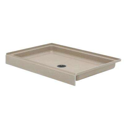 32 in. x 48 in. Solid Surface Single Threshold Center Drain Shower Pan in Barley