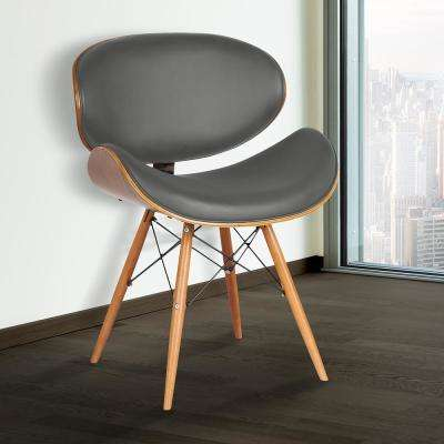 Cassie 31 in. Gray Faux Leather and Walnut Wood Finish Mid-Century Dining Chair