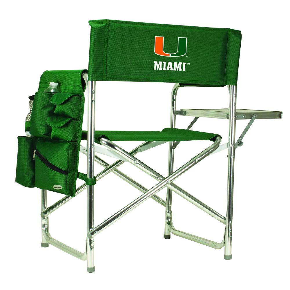Picnic Time University of Miami Hunter Green Sports Chair with Digital Logo