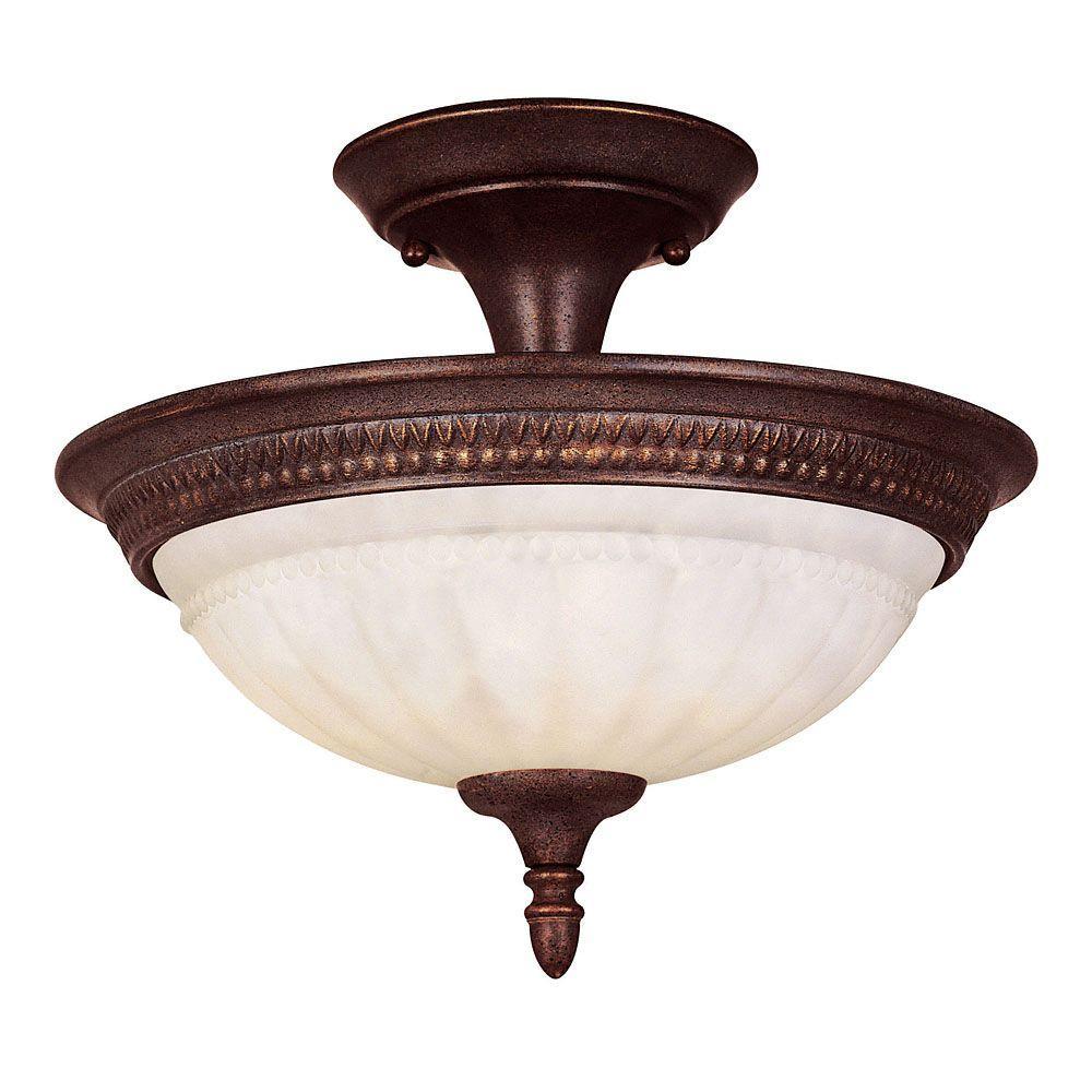 2-Light Walnut Patina Semi Flush with Cream Marble Glass