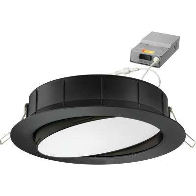 6 in. Selectable Color Temperature New Construction or Remodel Recessed Integrated LED Gimbal Kit Matte Black