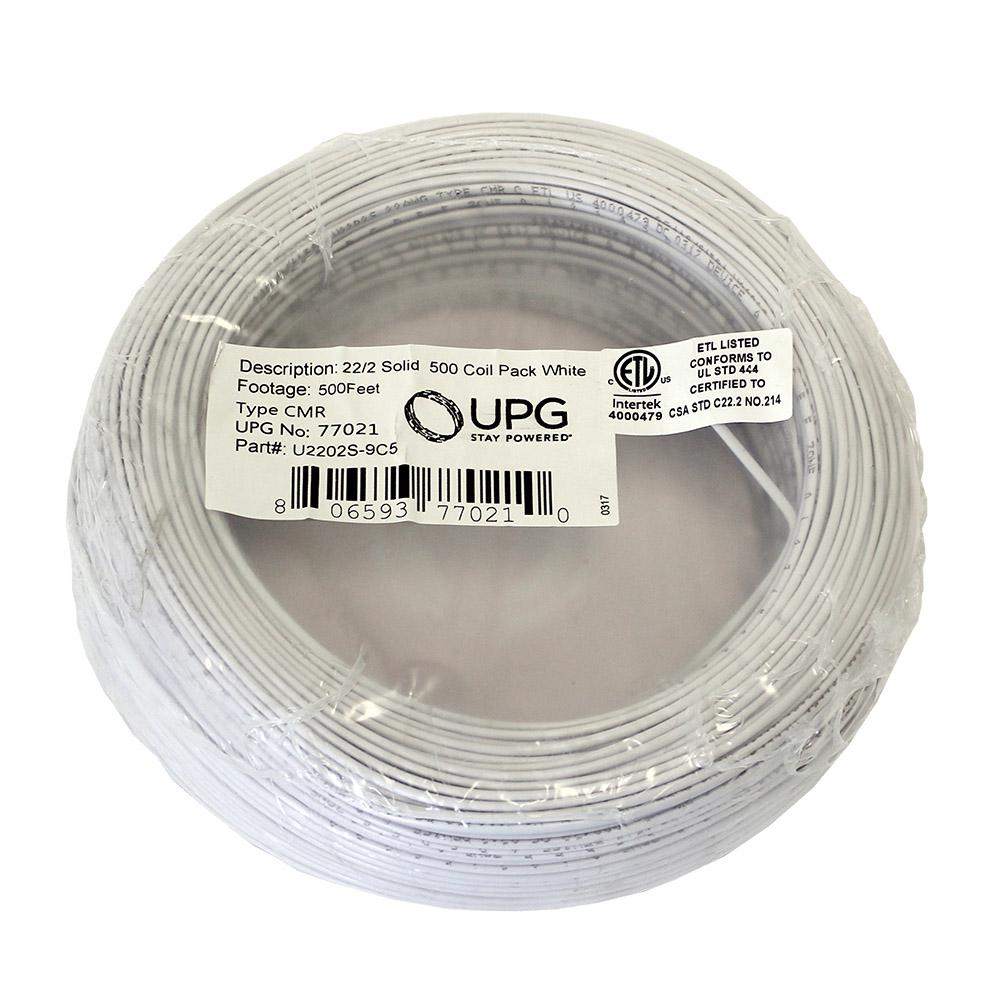 UPG 500 ft. Coil Pack of 22-Gauge 2-Conductor White Alarm Cable ...
