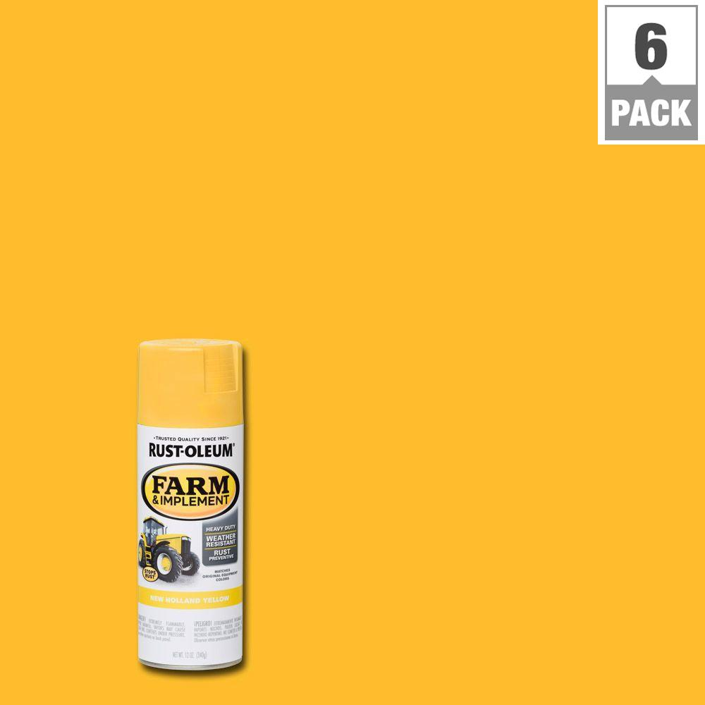 12 oz. Farm and Implement New Holland Yellow Spray Paint (6-Pack)