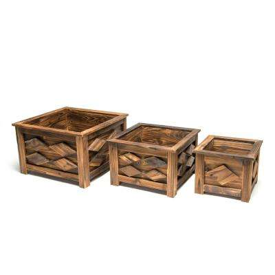 DeVault Wooden Square Planter (Set of 3)