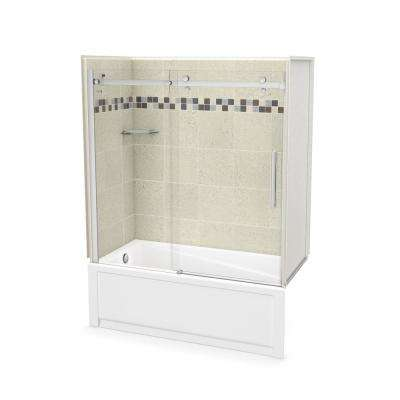 Utile Stone 30 in. x 59.8 in. x 81.4 in. Left Drain Alcove Bath and Shower Kit in Sahara with Chrome Shower Door