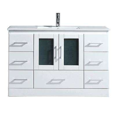Zola 48 in. W Bath Vanity in White with Ceramic Vanity Top in Slim White Ceramic with Square Basin and Faucet