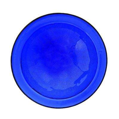 12.5 in. Dia Cobalt Blue Reflective Crackle Glass Birdbath Bowl