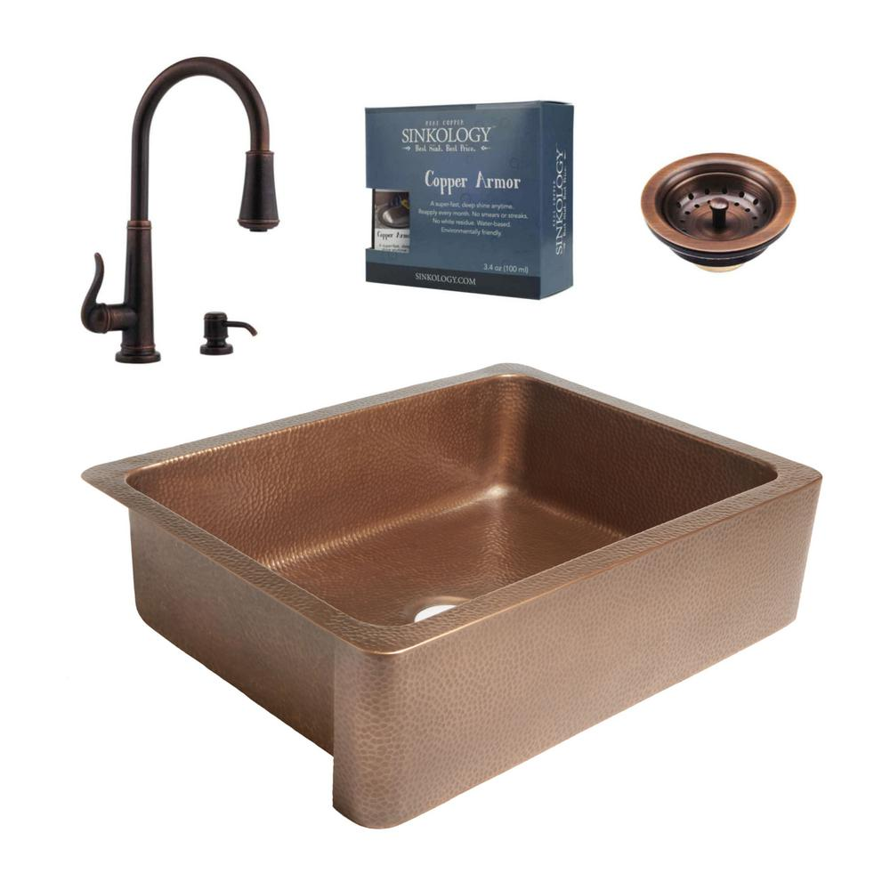 SINKOLOGY Courbet All-in-One Farmhouse Apron-Front Copper 30 in. Single Bowl Kitchen Sink with Pfister Bronze Faucet and Strainer