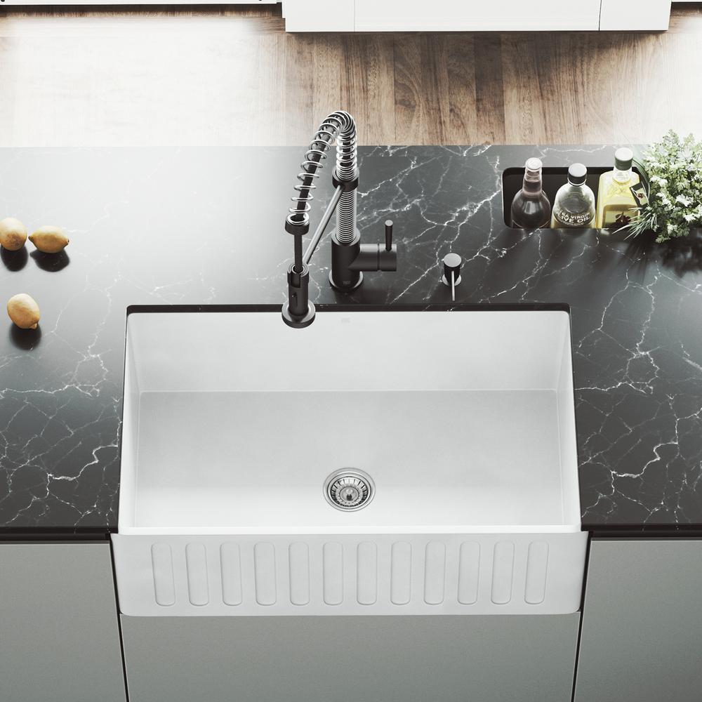 Vigo Camden Farmhouse Single Bowl Kitchen Sink: VIGO Matte Stone Farmhouse Composite 30 In. Single Bowl