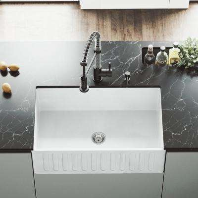 Reversible Farmhouse Apron Front Matte Stone 30 in. Single Bowl Kitchen Sink in White