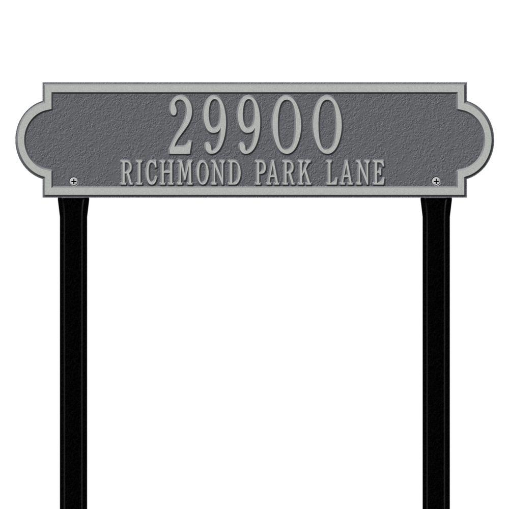 Whitehall Products Richmond Rectangular Pewter/Silver Estate Lawn Two Line Horizontal Address Plaque