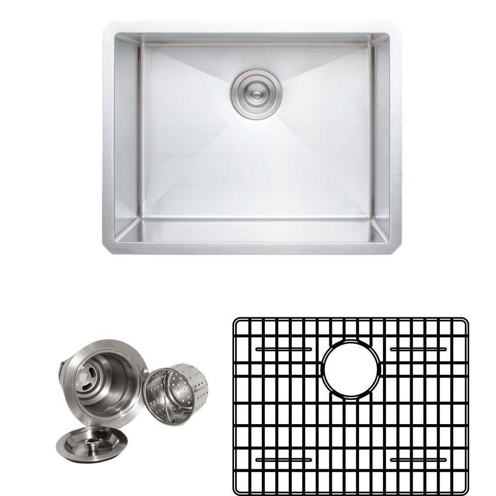 Wells New Chef's Collection Handcrafted Undermount Stainless Steel 23 in. Single Bowl Kitchen Sink Package