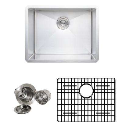 New Chef's Collection Handcrafted Undermount Stainless Steel 23 in. Single Bowl Kitchen Sink Package