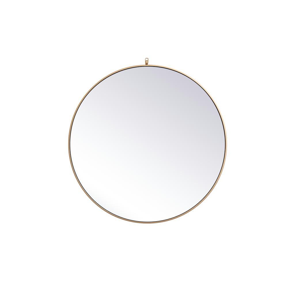 Medium Round Brass Modern Mirror (39 in. H x 39 in. W)
