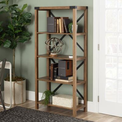 64 in. Rustic Oak Farmhouse Wood and Metal Bookcase