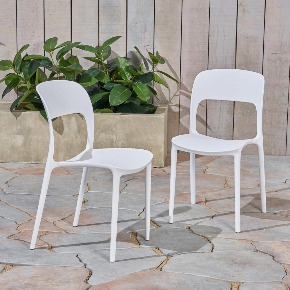 Molded Plastic Patio Furniture.Noble House Katherina White Armless Plastic Outdoor Dining Chairs 2 Pack