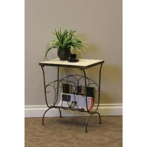 4D Concepts Tuscany Metal Travertine Top End Table by 4D Concepts