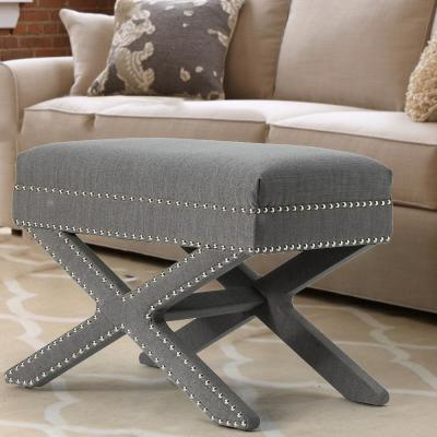 X-BASE 19 in. Height Gray Leigh Soft Upholstery-LIinen Wood Seating Accent Stool
