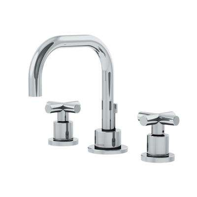 Dia 8 in. Widespread 2-Handle Bathroom Faucet with Cross Handles in Chrome