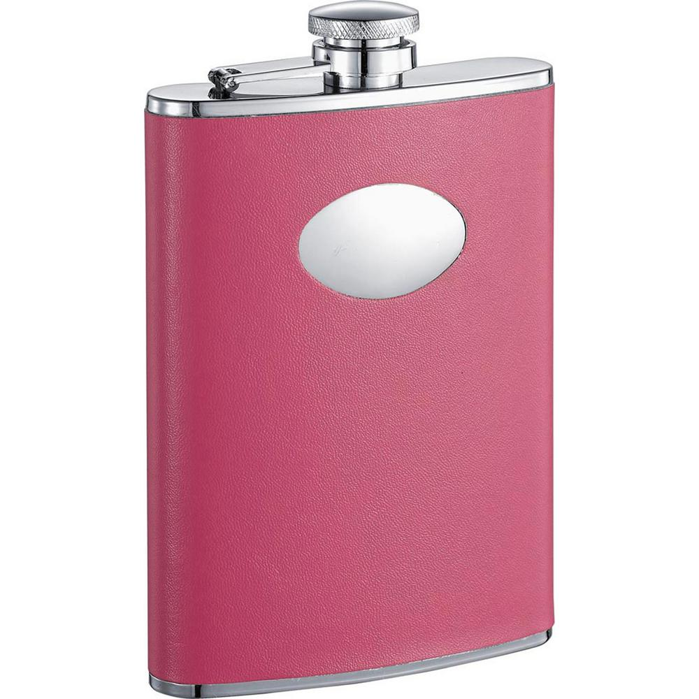 Britney Hot Pink Leather Stainless Steel 8 oz. Hip Flask