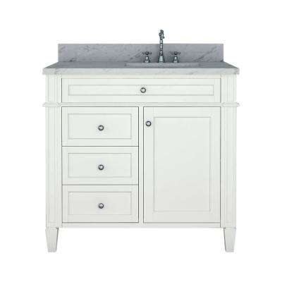 Samantha 36 in. W x 22 in. D Bath Vanity in White with Marble Vanity Top in White with White Basin