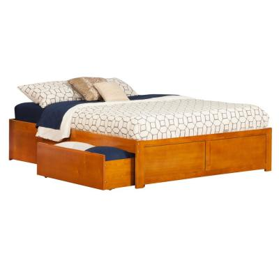 Concord Caramel Queen Platform Bed with Flat Panel Foot Board and 2-Urban Bed Drawers