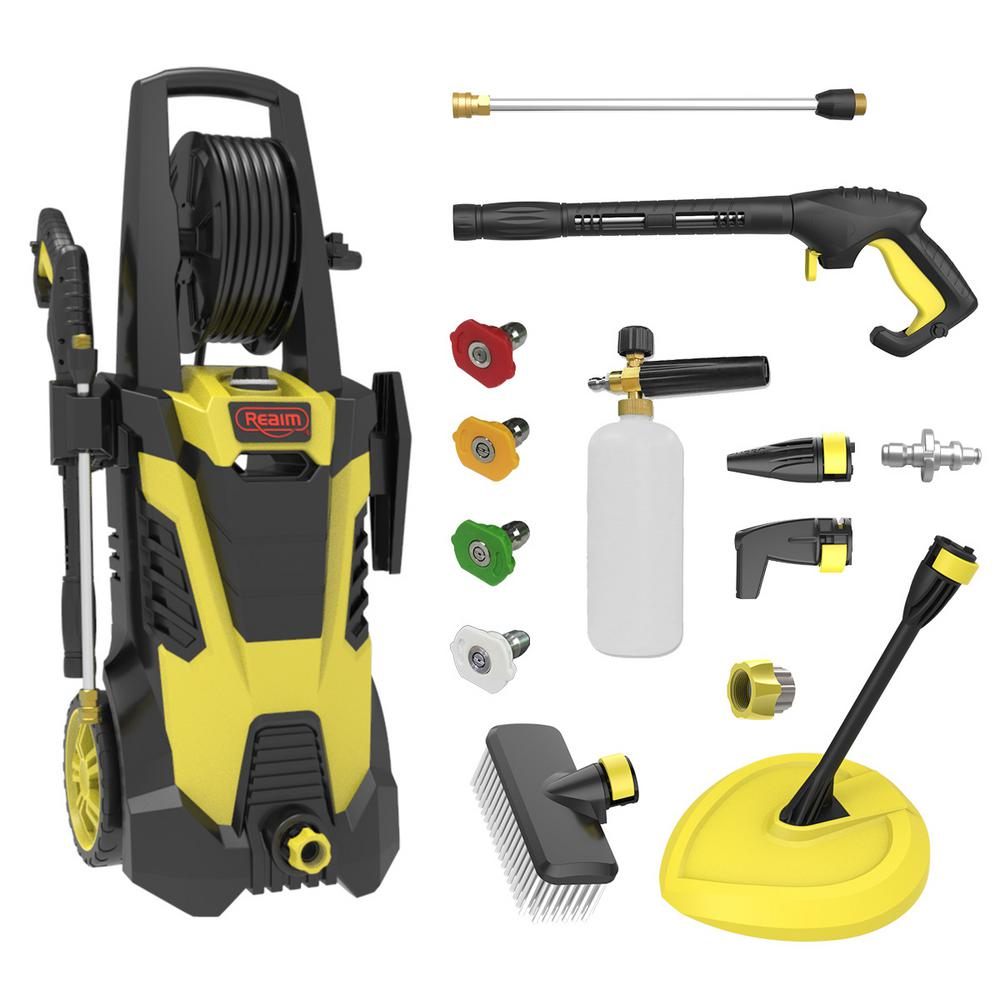 Realm 2450 Psi 1 75 Gpm 14 5 Amp Cold Water Electric Pressure Washer In Yellow Black Deluxe Edition By02 Bcmr 2 The Home Depot