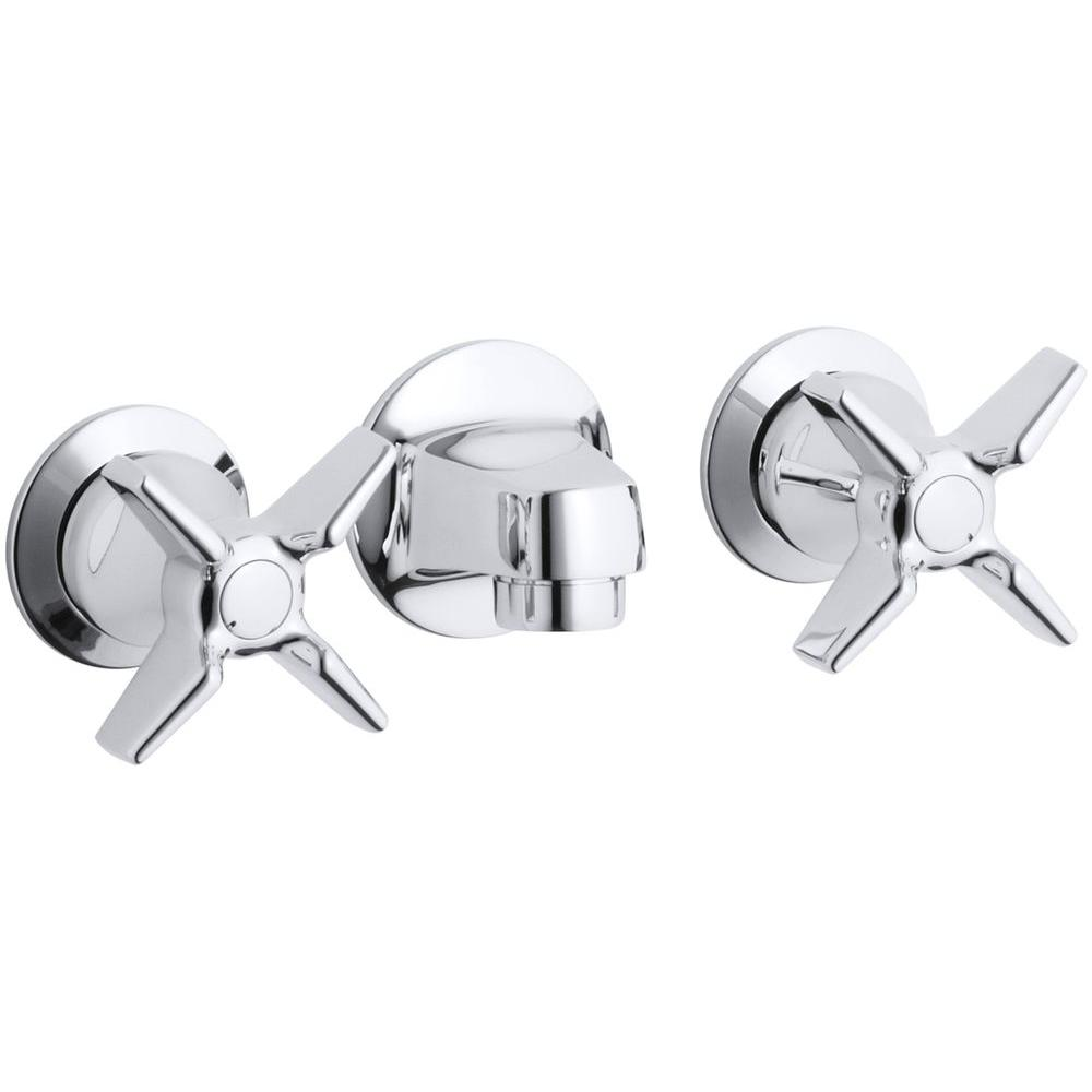 Kohler Triton Commercial 2 Handle Wall Mount Bathroom Faucet With Low Arc In