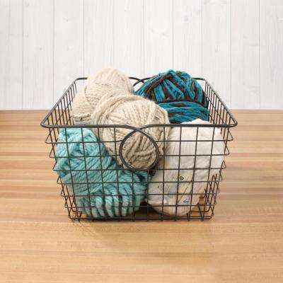 Teardrop 12.125 in. W x 13.125 in. D x 8 in. H Large Basket in Cool Gray