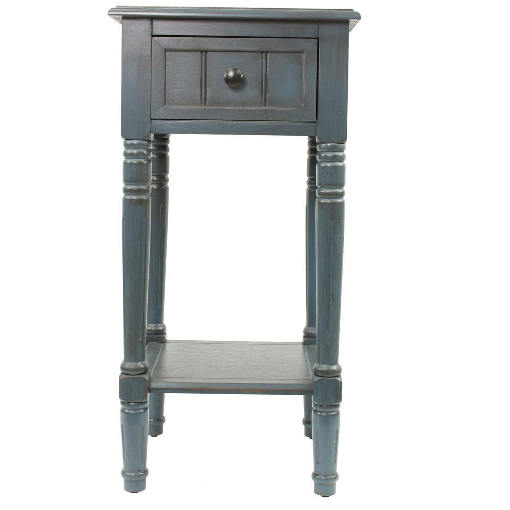 Decor therapy simplify antique navy 1 drawer end table for Decor therapy
