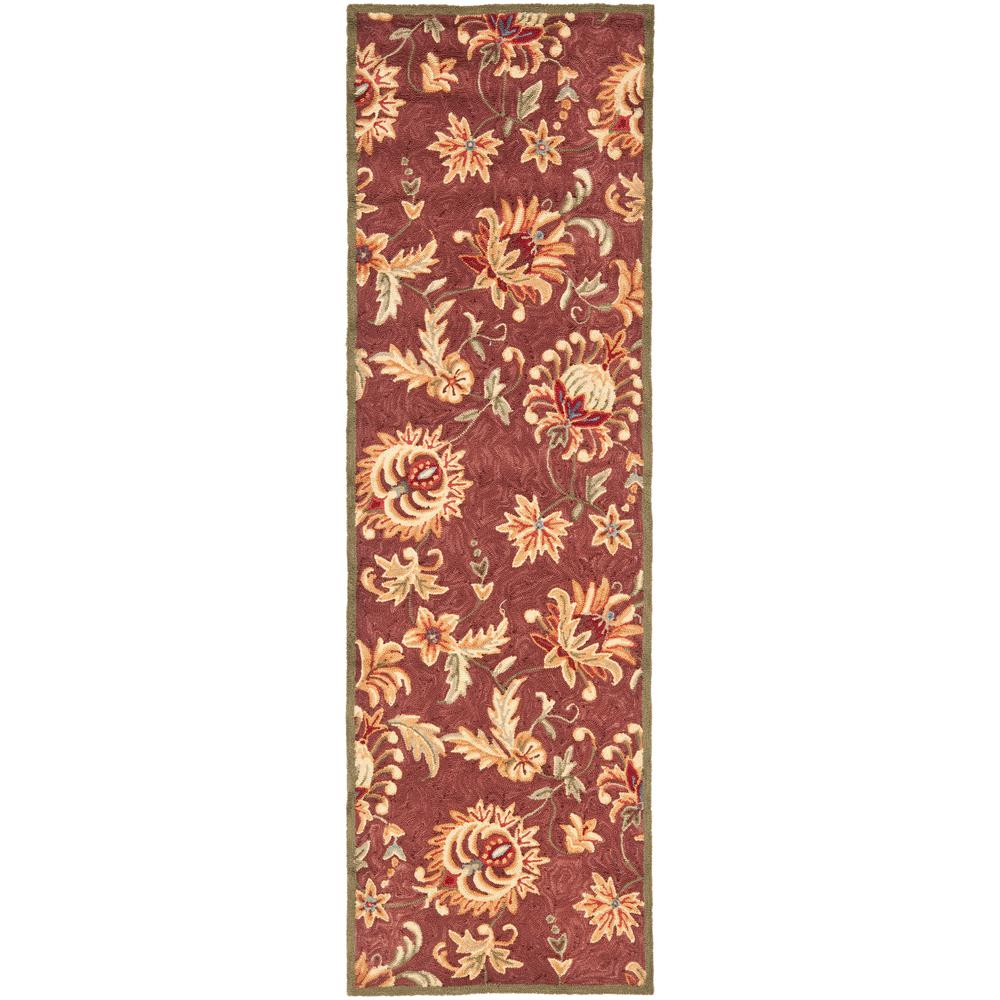 Easy Care Maroon/Green 3 ft. x 8 ft. Runner Rug