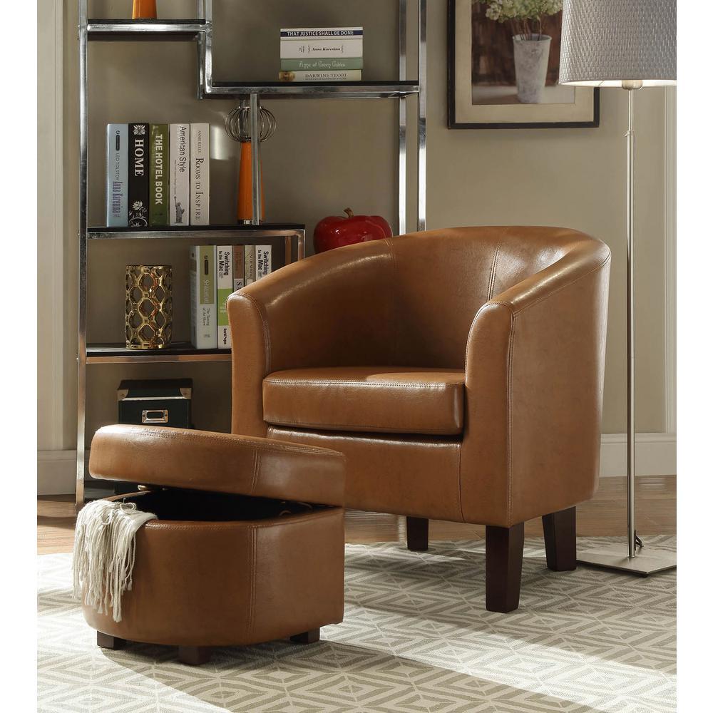 Tribecca Home Tufted Button Back Peat Microfiber Side: 4D Concepts Laguna Havana Brown Polyurethane Arm Chair