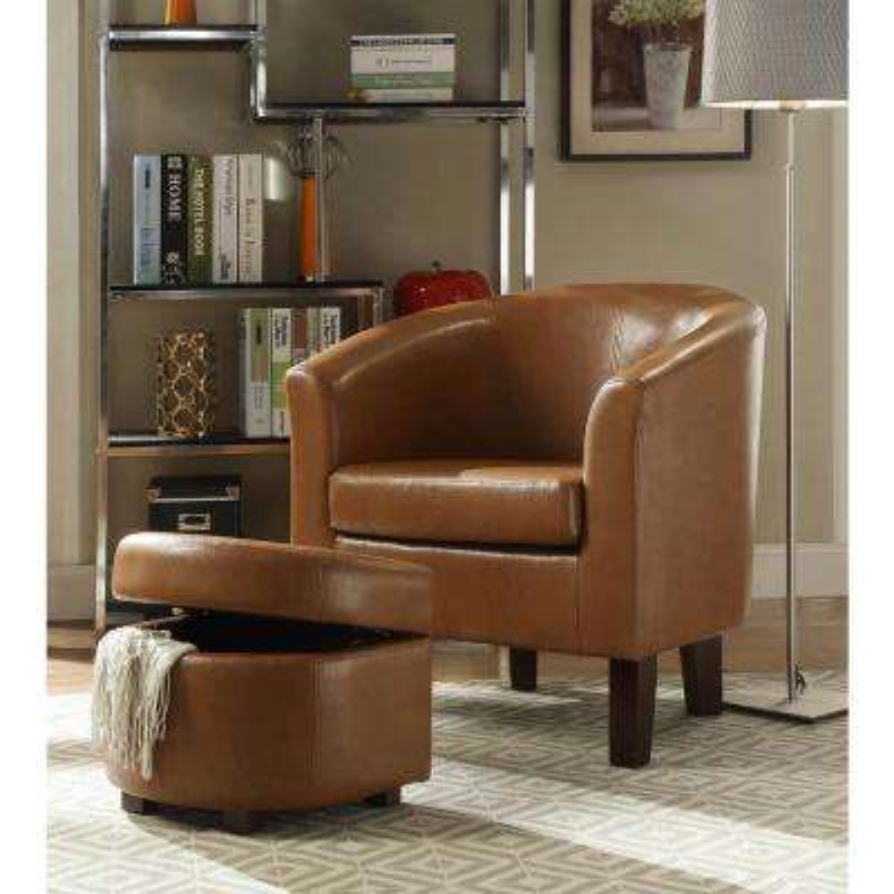 Laguna Havana Brown Polyurethane Arm Chair with Ottoman