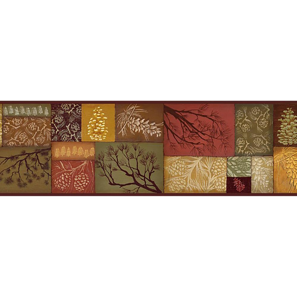 Wenham Pinecone Collage Wallpaper Border