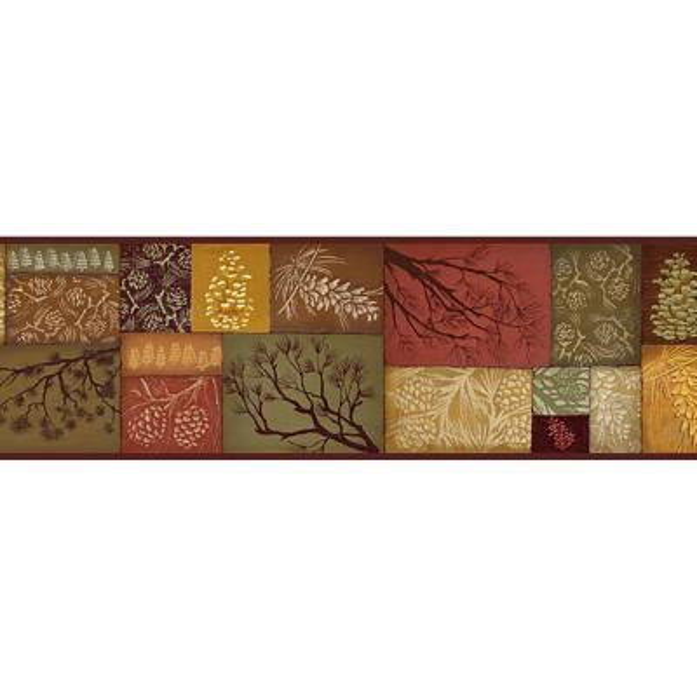 Wenham Red Pinecone Collage Wallpaper Border Sample