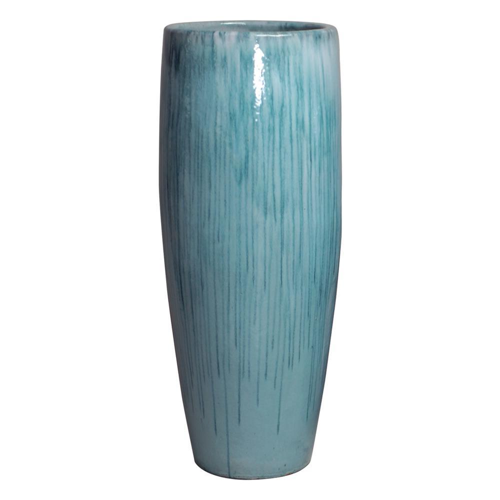 47 in. Round Turquoise Ceramic Cigar Jar/Planter