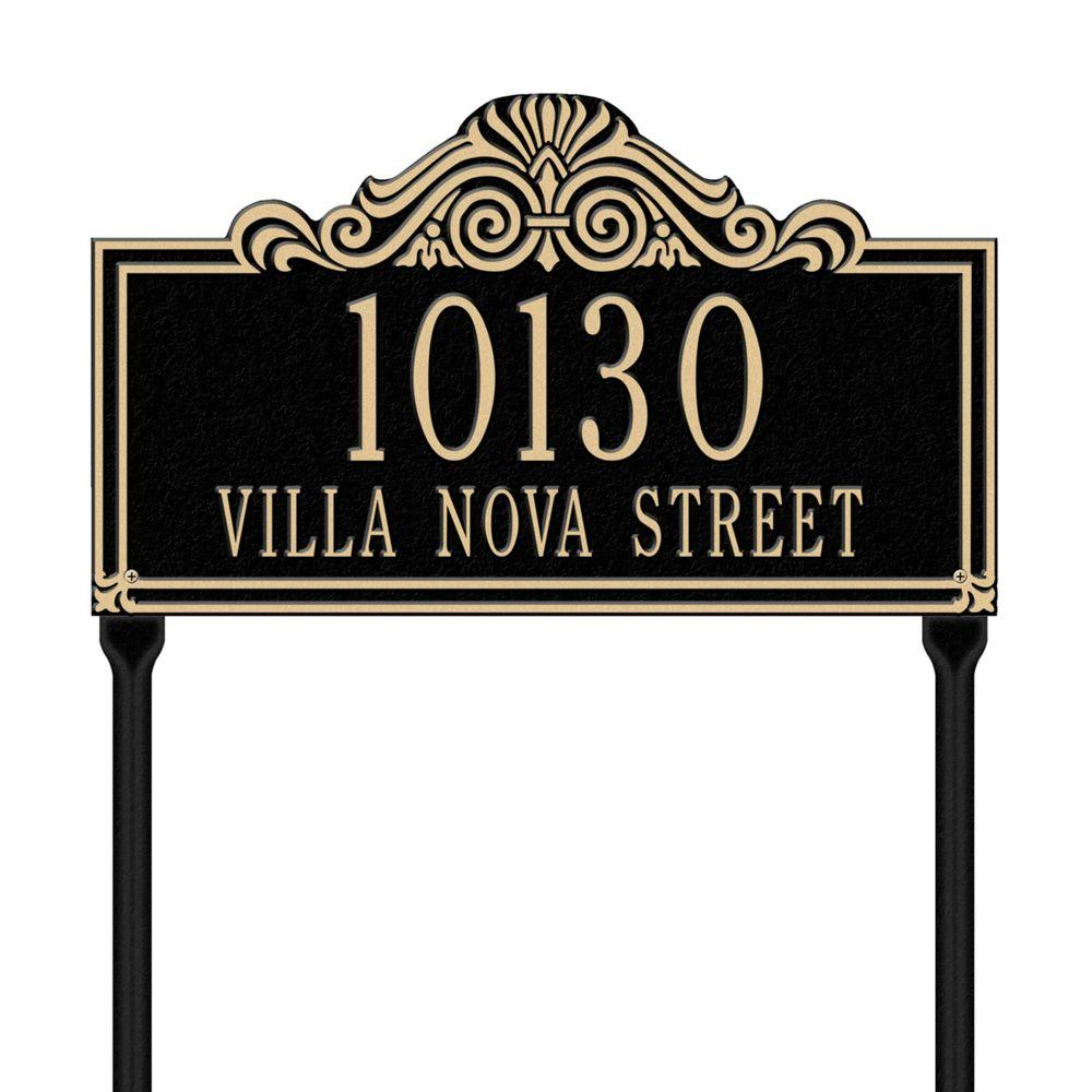 Villa Nova Rectangular Black/Gold Standard Lawn Two Line Address Plaque