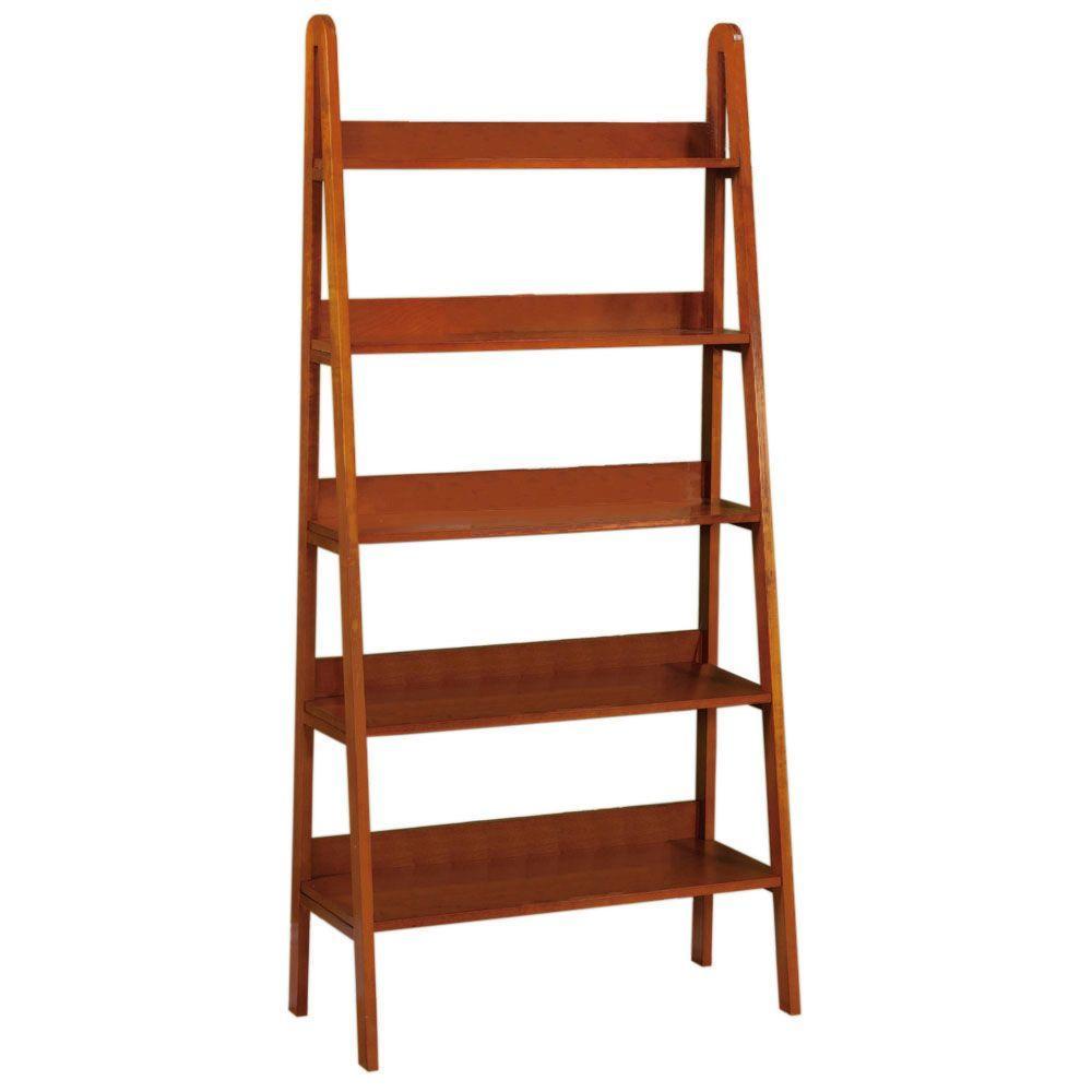 Home Decorators Collection Torrence 30 in. W 5-Shelf Dark Walnut Ladder Bookshelf
