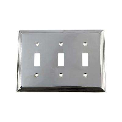Deco Switch Plate with Triple Toggle in Bright Chrome