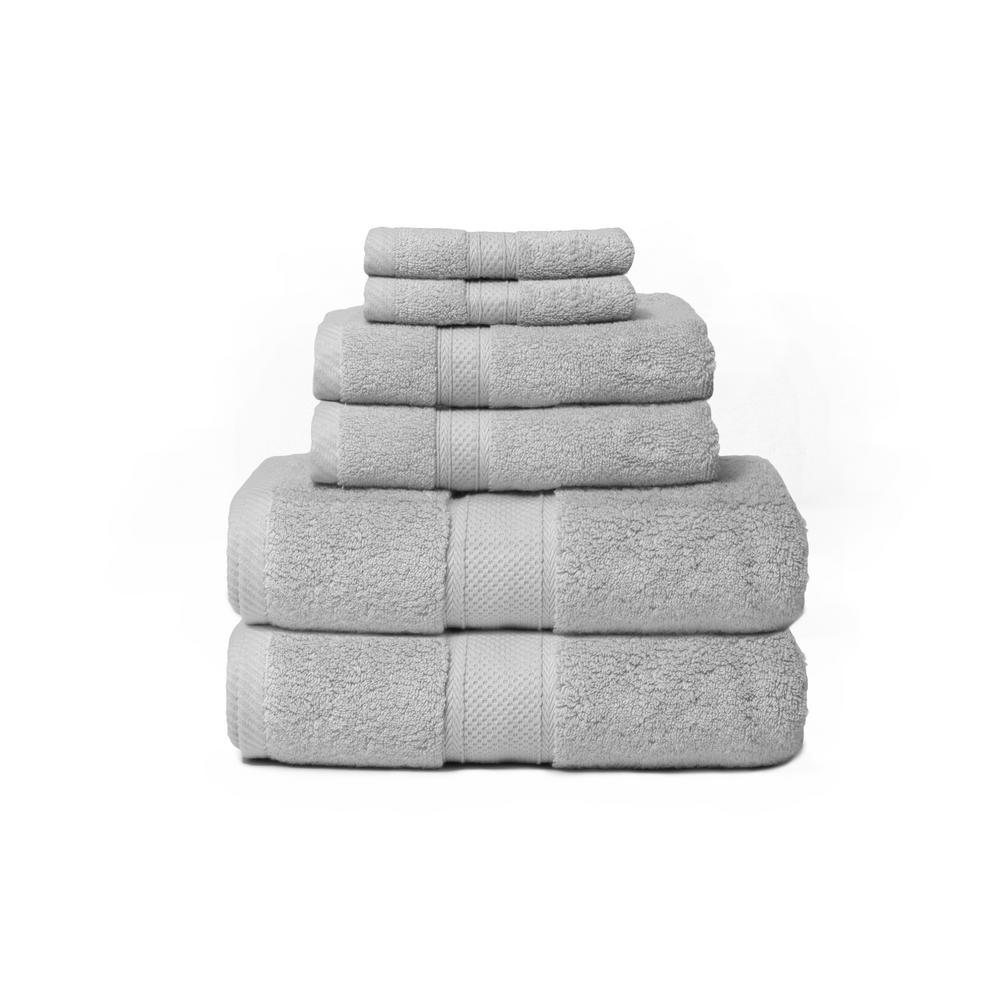 Hotel Zero Twist 6-Piece 100% Cotton Bath Towel Set in Silver