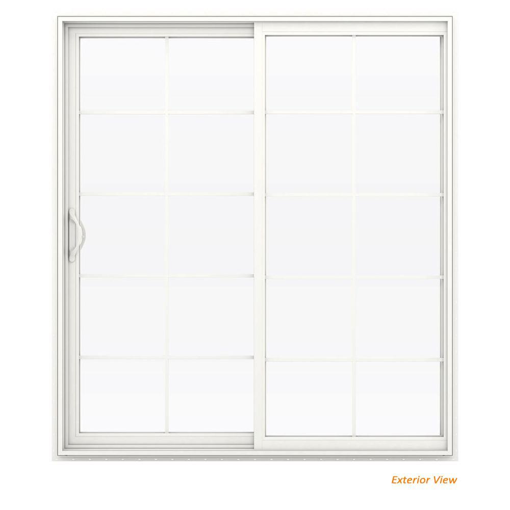 Jeld Wen 72 In X 80 In V 2500 White Vinyl Left Hand 10 Lite Sliding Patio Door W White Interior Thdjw181500225 The Home Depot