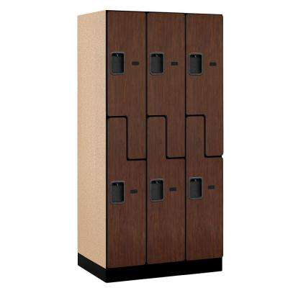 37000 Series 36 in. W x 76 in. H x 21 in. D 2-Tier S-Style Designer Wood Locker in Mahogany